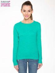 Zielona bawełniana bluzka typu basic z długim rękawem
