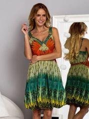 Zielona sukienka na ramiączka w stylu etno
