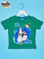 Zielony t-shirt chłopięcy PINGWINY Z MADAGASKARU