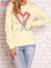Żółta bluza z motywem paryskim