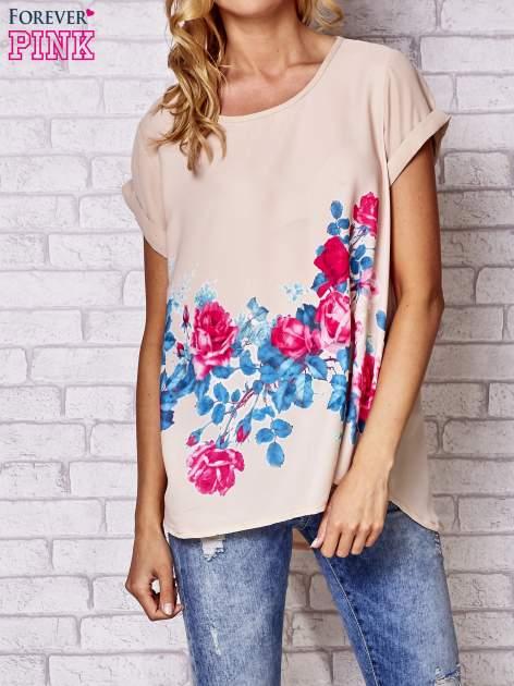 Beżowa koszula z motywem kwiatów