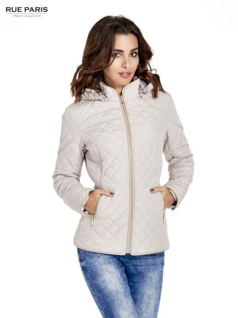 Beżowa pikowana kurtka z kapturem w stylu husky