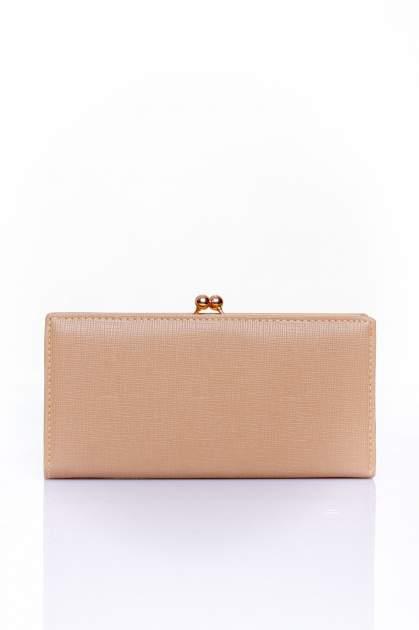 Beżowy portfel z biglem efekt saffiano