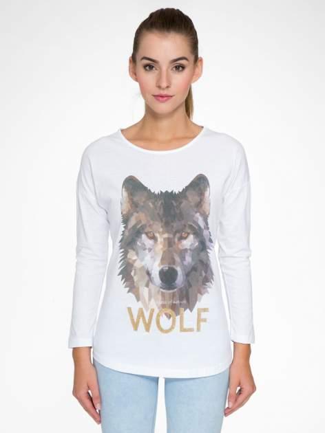 Biała bluzka z nadrukiem wilka i brokatowym napisem WOLF