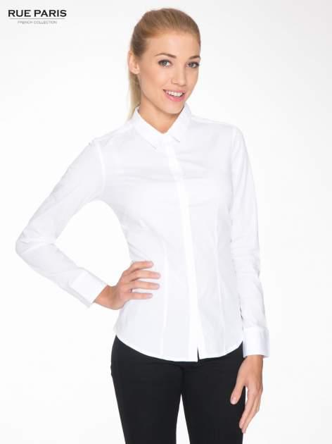 Biała elegancka koszula damska z krytą listwą