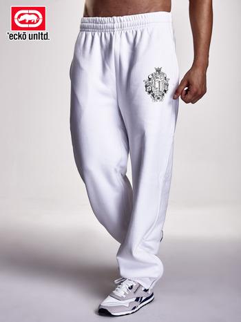 Białe spodnie dresowe męskie z logiem i dżetami