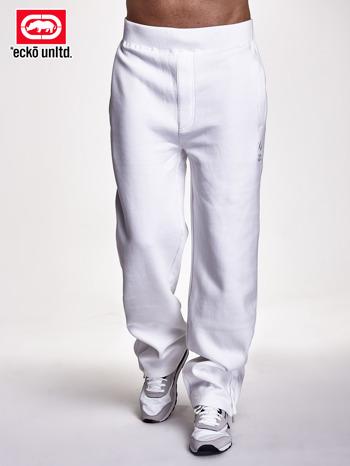 Białe spodnie dresowe męskie z suwakami na nogawkach