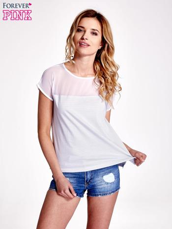 Biało-szary t-shirt z tiulowym wykończeniem