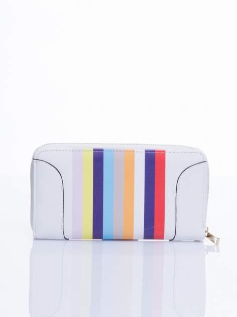 Biały portfel w paski z kieszonką