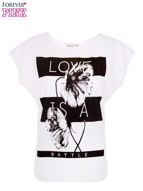 Biały t-shirt z czarnym nadrukiem