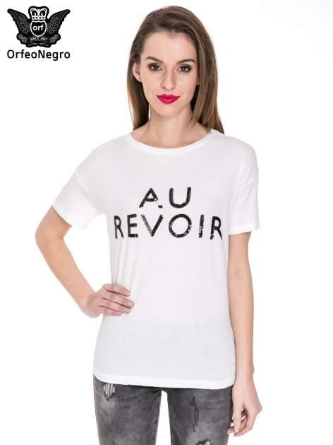 Biały t-shirt z nadrukiem AU REVOIR z cekinów
