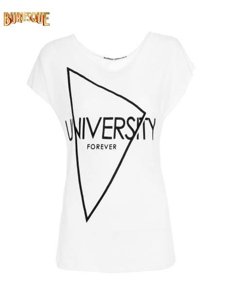 Biały t-shirt z nadrukiem UNIVERSITY FORVER