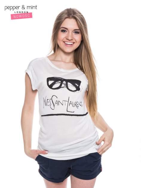 Biały t-shirt z nadrukiem YVES SAINT LAURENT