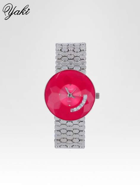 Biżuteryjny srebrny zegarek damski z różową tarczą z cyrkoniami