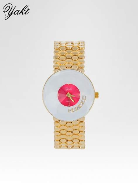 Biżuteryjny złoty zegarek damski z białożową tarczą z cyrkoniami