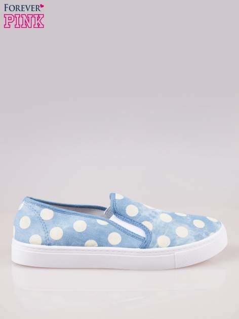 Błękitne buty slip on w groszki