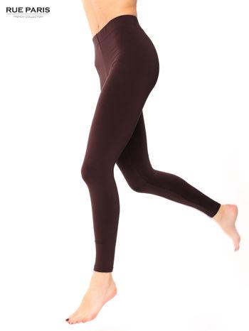 Ciemnobrązowe legginsy bawełniane z gumką w pasie