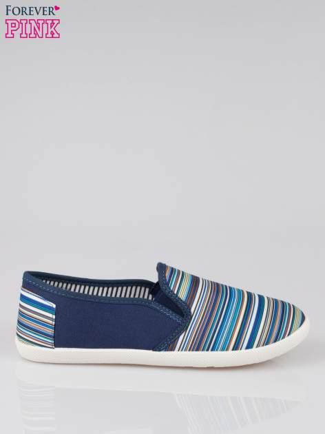 Ciemnoniebieskie pasiaste buty slip on