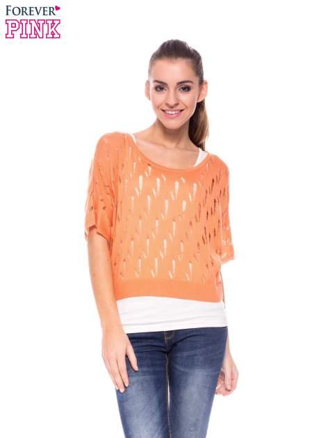 Ciemnożółty krótki ażurowy sweterek