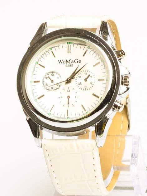Cudny zegarek damski na białym pasku