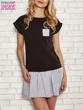 Czarna dresowa sukienka tenisowa z kieszonką
