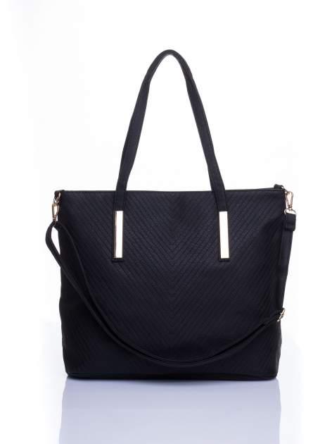 Czarna fakturowana torba shopper bag
