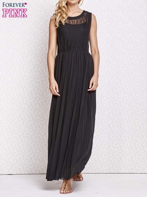 Czarna sukienka maxi z koronkowym przodem