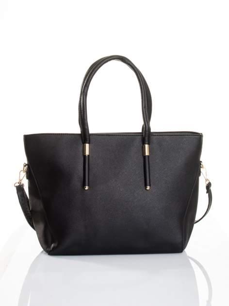Czarna torba shopper efekt saffiano