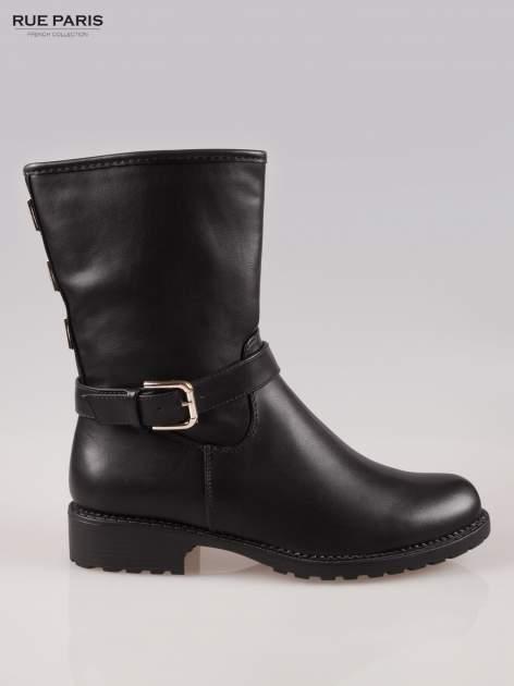 Czarne botki biker boots z klamerką i ćwiekami