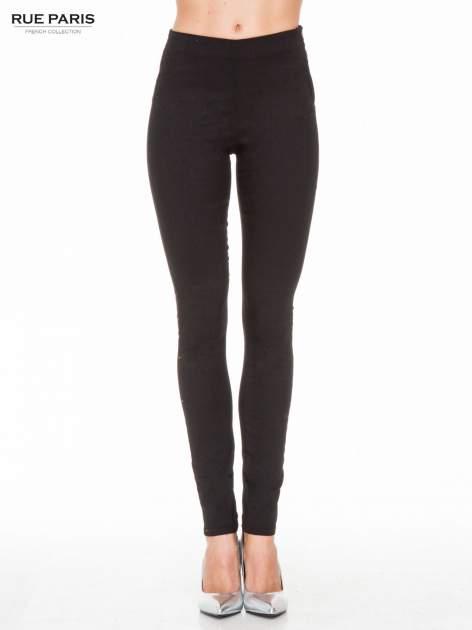 Czarne eleganckie spodnie typu tregginsy z wysoką talią