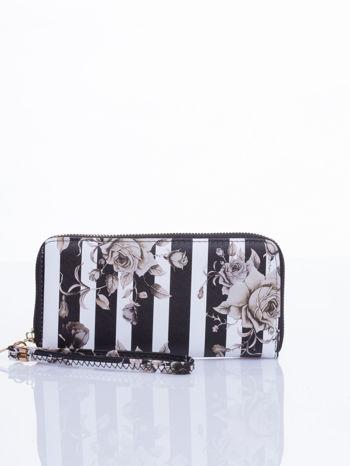 Czarny portfel w kwiaty efekt saffiano