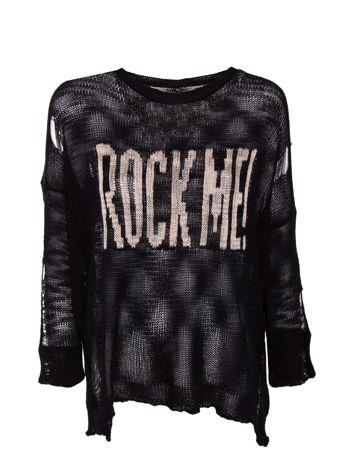 Czarny sweter z nadrukiem i efektem destroyed