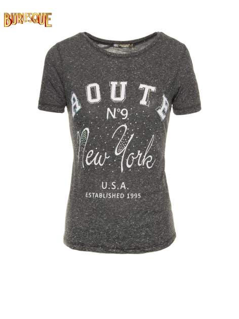 Czarny t-shirt z napisem ROUTE NEW YORK
