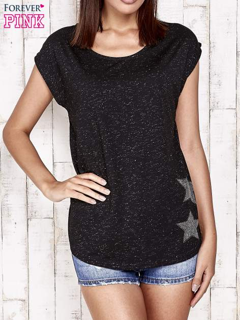 Czarny t-shirt ze srebrną nitką i aplikacją z dżetów