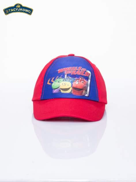 Czerwona chłopięca czapka z daszkiem STACYJKOWO