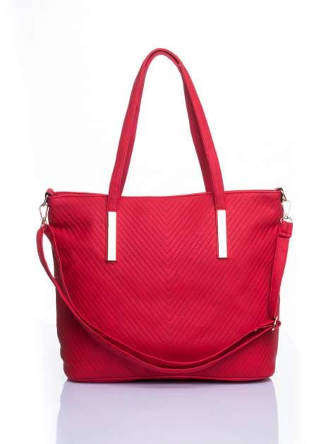 Czerwona fakturowana torba shopper bag