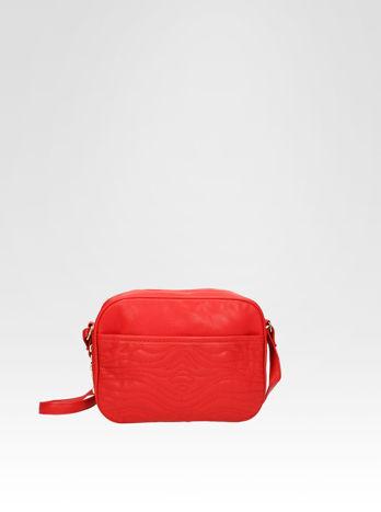 Czerwona mała torebka listonoszka z dżetami
