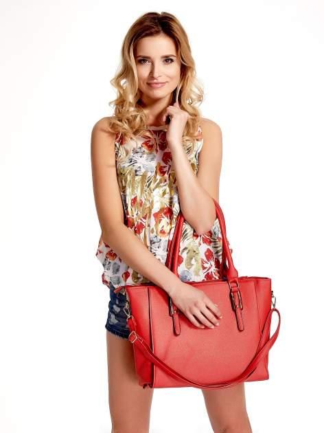 Czerwona torba shopper bag z odpinanym paskiem