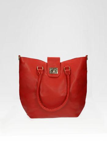 Czerwona torebka city bag z zatrzaskiem
