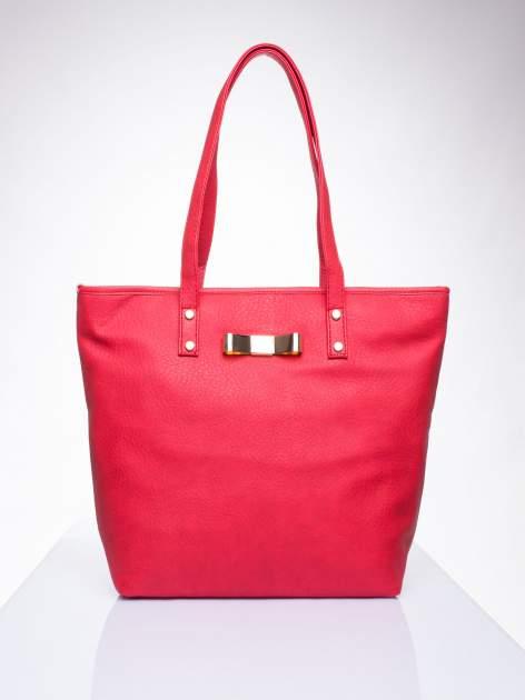 Czerwona torebka shopper bag z kokardką