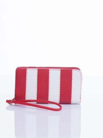Czerwony portfel w paski