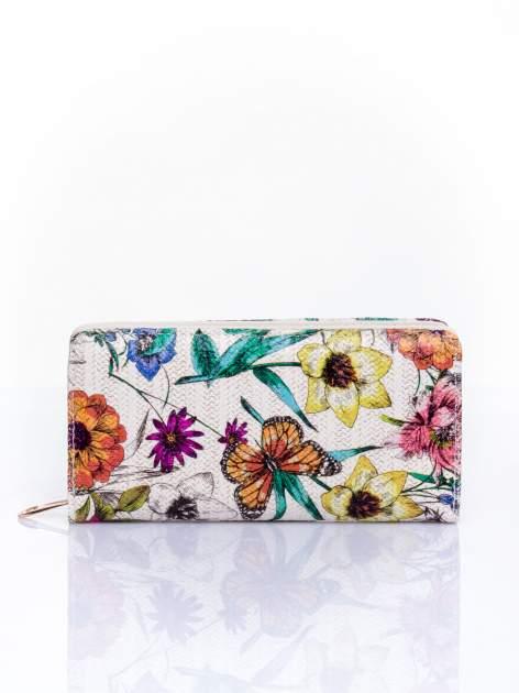 Fioletowy portfel z egzotycznym nadrukiem