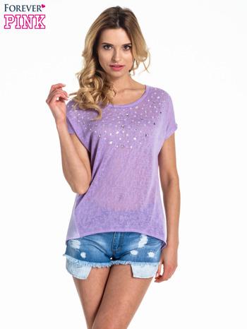 Fioletowy t-shirt z kryształkami