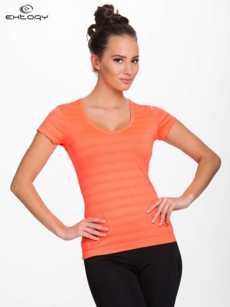 Fluopomarańczowy damski t-shirt sportowy w paski