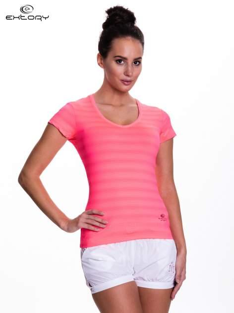 Fluoróżowy t-shirt sportowy w paseczki