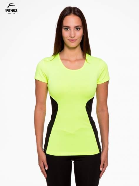 Fluozielony termoaktywny t-shirt sportowy z siateczkowymi modułami ♦ Performance RUN