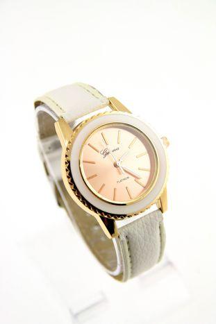 GENEVA Biały zegarek damski na skórzanym pasku