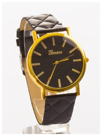 GENEVA Czarny zegarek damski na pikowanym pasku