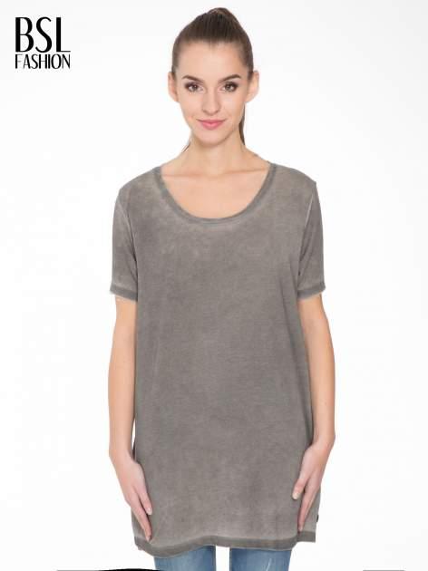 Grafitowa sukienka typu t-shirt bluzka z efektem dekatyzowania