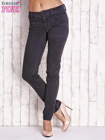 Grafitowe materiałowe spodnie regular